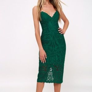 Emerald Green Bardot Lacy Gia Bodycon Dress.